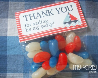 Nautical Party - Thank you Labels - Treat bag Labels - INSTANT DOWNLOAD - Printable PDF with Editable Text