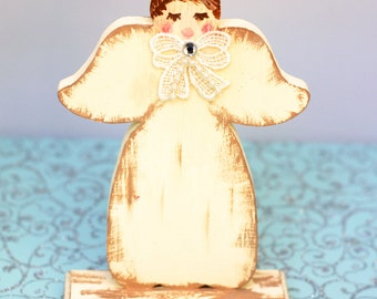 Shabby Wood Angel Ornament