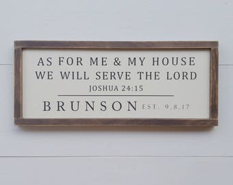 As for Me and My House We Will Serve the Lord, Family Name Sign, Est, Joshua 24:15, Farmhouse Style, Rustic, Wedding Gift, Housewarming Gift