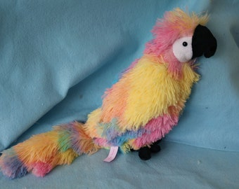 Rainbow Parrot Plush // Cute Kawaii Stuffed Animal OOAK Toy Pride Bird