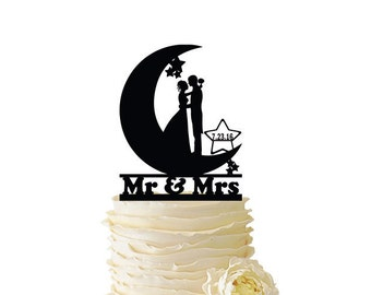 Mr. and Mrs. with Bride and Groom in Moon Personalized with Date or Initials - Standard Acrylic - Wedding - Anniversary -  058