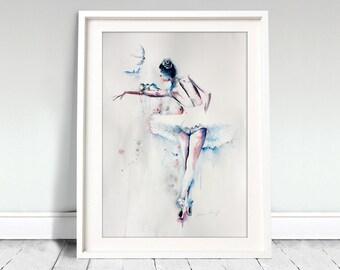 Ballerina watercolor art print. Wall art, wall decor, digital print. Flyn' high