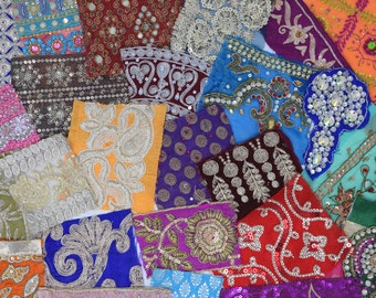 25 Boho Bohemian Sparkly Metallic Indian Fabric Swatches Samples (Lucky Dip)