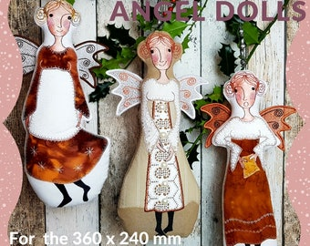 Special Design Pack with all three XTRA Large ANGEL DOLLS for the very big hoops (360 x 240 mm) - 3 for the price of 2, Instant Download