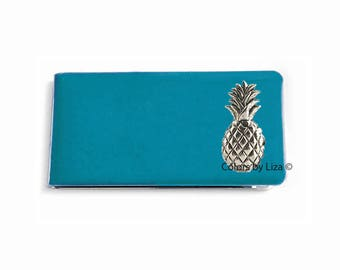 Pineapple Money Clip Inlaid in Hand Painted Enamel Finish Turquoise Opaque Tropical Inspired with Personalized and Assorted Color Options