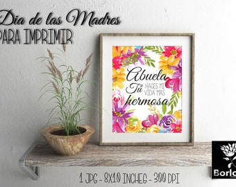 Mother's day printables, Mother, home, heart, Abuela,Quote, watercolor flowers, pink flowers, wall art,hand painted, home decor print,