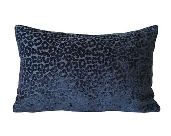 Blue Chenille Lumbar Pillow Cover with Woven Cheetah Design 11 x 17 Inches