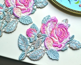 Rose embroidered patch I Rose embroidery patch I Millinery hat flower I Rose Patch I Embroidered patch I Embroidered rose I Rose appliqué
