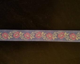 "Navy Blue Jacquard Pink Sage Floral leaves Ribbon 5/8"""
