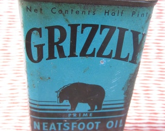 Vintage 1941 Grizzly Brand Neatsfoot Oil Compound for Leather Goods