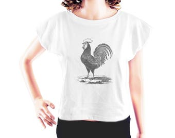 Rooster tshirt cute t shirt slogan tee women workout tshirt tumblr graphic tshirt cool tee funny tshirt women top crop top crop shirt size S