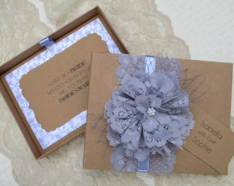 Will You Be My Bridesmaid Boxed Card With Personalized Tag-Rustic Card Box-Bridesmaid Invitation- Vintage Invite