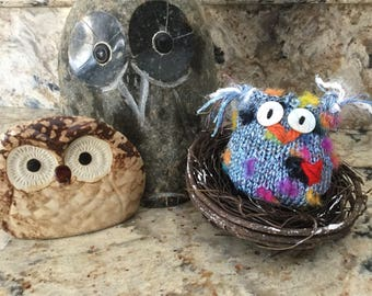 Beau the Owl Hand-knit......Friends and nest not included!
