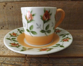 Vintage Demitasse Set, Napco Cup and Saucer, Demitasse Cup, Chocolate Cup, China Cup,  Peach and White, Peach Roses, Shabby Table