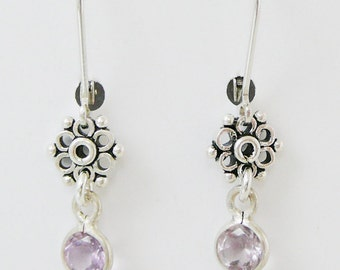 Sterling Gemstone Earrings, Amethyst Antiqued Flower Sterling Silver Dangle BFF Jewelry Bridal Party Jewelry Bridesmaid Earrings