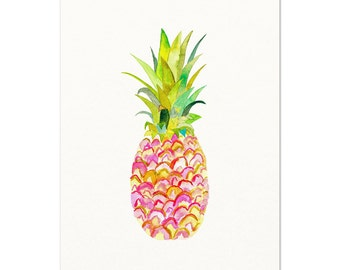 Pink Pineapple Watercolor Print. Unique Kitchen Decor. Pineapple Wall Art. Fruit Painting. Playful Pink Pineapple Art. Modern. Gift for Her.