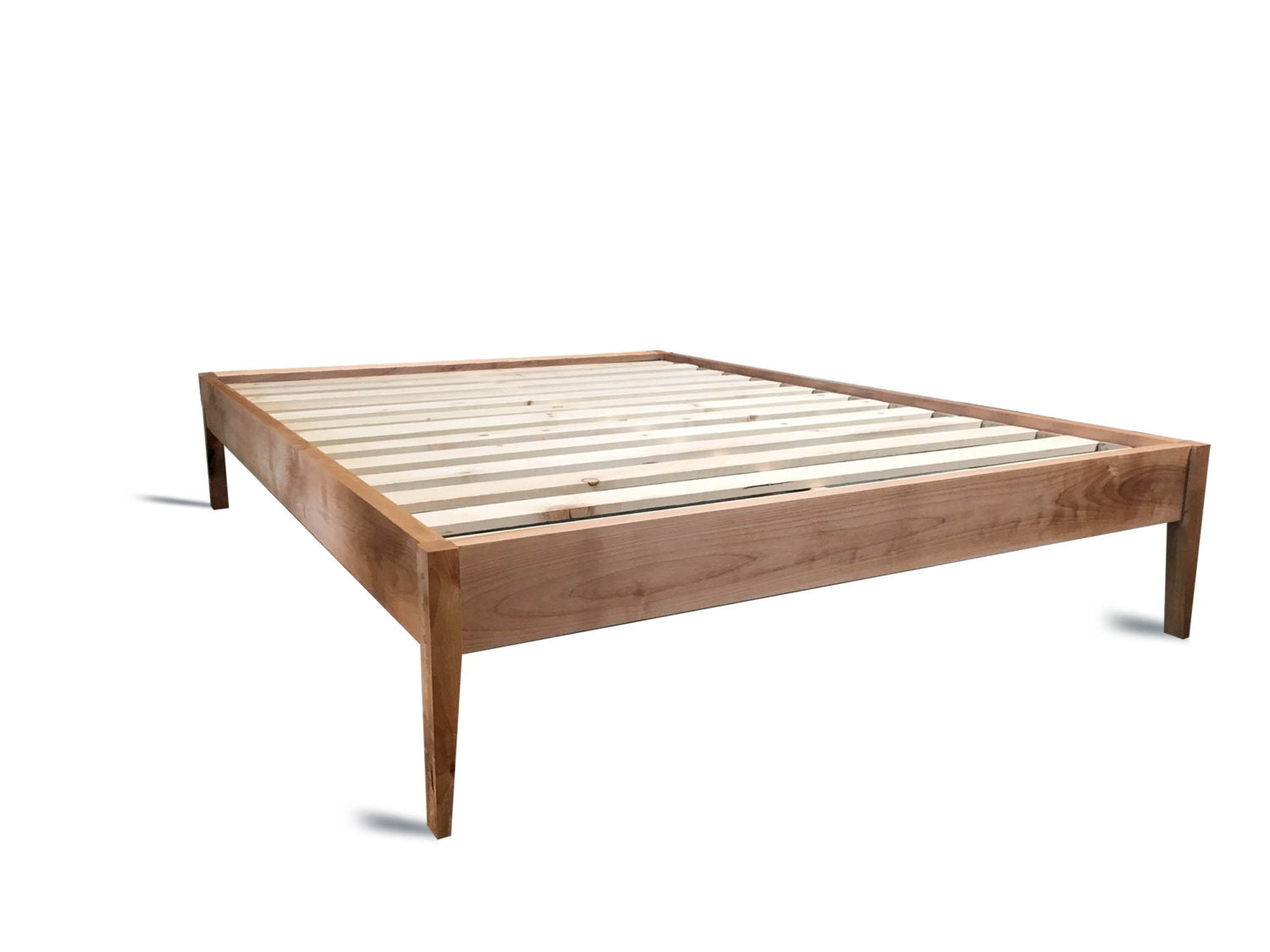 🔎zoom. platform bed frame  simple wood bed with sleek tapered legs