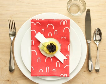 Set of 4 Linen + Cotton Dinner Napkins - Rose Red with White Designs