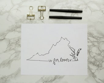 Virginia is for Lovers Hand-lettered Calligraphy Print - Wall Art - Home Decor - Richmond - Virginia Beach - Hokies - Cavaliers - UVA - Tech