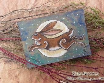 ORIGINAL miniature ACEO illustration Leaping Hare Moon ATC