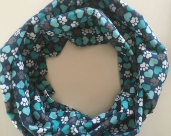 """Turquoise """"Say I Love You"""" with a  Paw Print Infinity Scarf"""