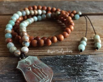 Sandalwood, Aqua Terra Jasper + Thai Buddha | 108 Bead Mini Mala (6 mm) | Spiritual Junkies | Yoga + Meditation