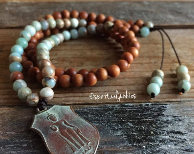 Sandalwood, Aqua Terra Jasper + Thai Buddha | 108 Bead Mini Mala (6 mm) | Spiritual Junkies | Yoga + Meditation