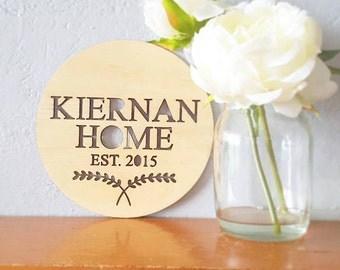 The CUSTOM Home Plaque. Personalised Timber Wooden Wall Hanging / Sign with wreath. Laser Cut out design. Raw home decor. Gift idea.