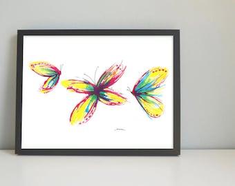 BUTTERFLIES Art print, watercolor painting, handmade, wall decor, wall art, drawing, illustration