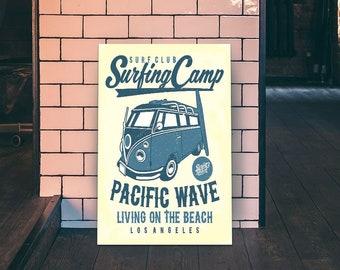 Surfing Camp Pacific Wave A2 Poster Splitscreen Camper Van Surf automotive garage man cave picture