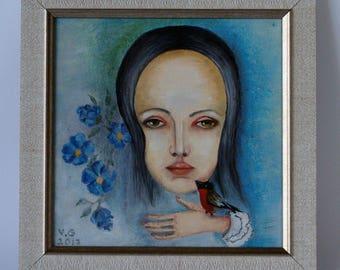 "Original oil painting, Original Painting ""The Bullfinch"""