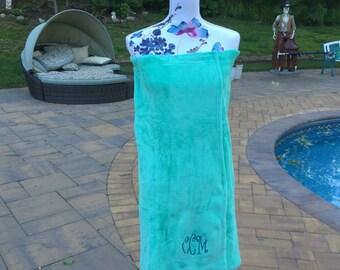 Monogrammed Plush Bath Towel Wrap - Personalized - AQUA - Wedding Bride Pool Spa Robe - Women OSFM