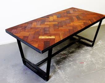 Brix Design Works - Chadwick Dining Table - Industrial Steel Frame and Reclaimed Mahogany Top