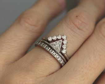 Diamond Wedding Ring Set, 0.4 carat diamond with V Diamond Wedding Band, White Gold Ring Set, White Gold Diamond Engagement Set
