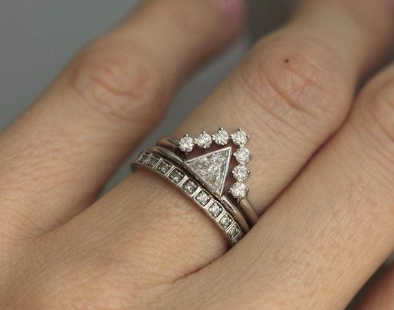 Diamond Wedding Ring Set 04 carat diamond with V Diamond