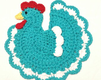 Crochet Chicken Rooster Potholder Rooster Kitchen Rustic Country Farmhouse Kitchen Decor Turquoise Blue Rooster Chicken   Housewarming Gift