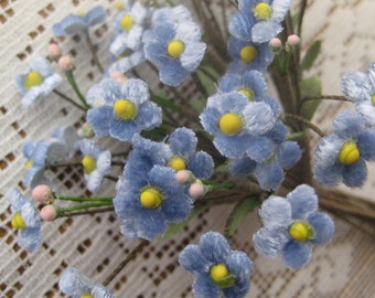 Czech Republic Velvet Forget Me Nots Millinery Fabric Flowers Blue NCF046-LBV