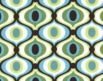 Michael Miller Feeling Groovy Teal, Green and White Bkg 1 Yard