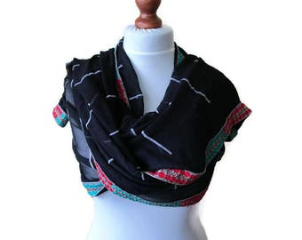 Black Shawl Large Shawl Black Wrap Vintage Shawl Gypsy Shawl Boho Shawl Indian Shawl  Black Evening Wrap Oversized Shawl