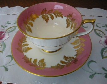 Vintage Aynsley  Bone China Teacup and Saucer Made in England White and Pink with Gold Leaves and Trim