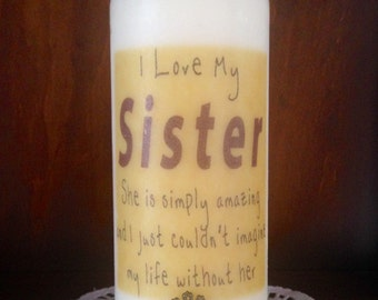 Personalized candle, Birthday, Sister's Gift, I Love my Sister,