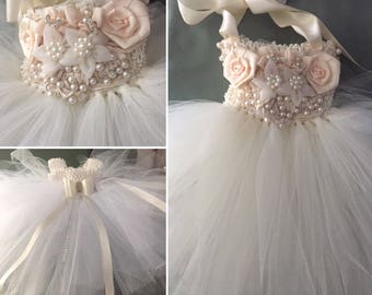 Ivory TuTu Dress Flower Girl Dress Special Occasion Dress  & Matching Headband