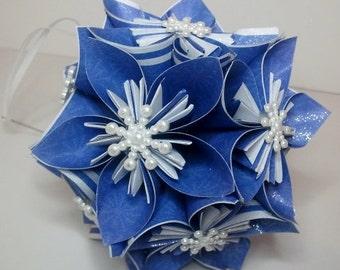 Small Kusudama Flower Ball Ornament (Snowflakes V10)