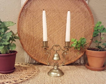 Vintage brass 2 arm candleabra with bell detail. Boho, eclectic, mantle decor.