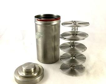 Vintage Stainless Steel Film Developing Tank. 1960s/ 1970s. Nikor Products. 4 Reels. Darkroom Supplies. Film Developing Tank,