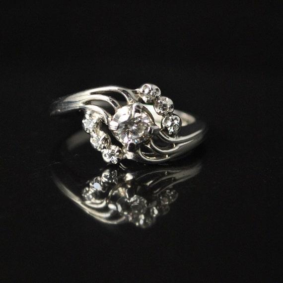 Ladies 1/4 TCW Diamond Swirl 14k White Gold Ring Sz 5.5  #10060