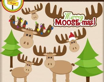 Moose Clipart - Christmas Moose Clip Art - Cute Digital Clipart- Personal Use - Commercial Use - Card Design, Scrapbooking, Web Design