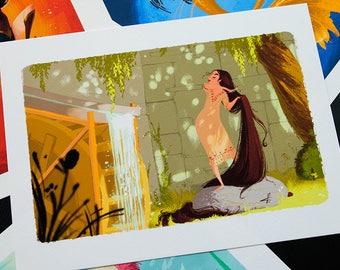 Combing her hair - Digital Drawing - Art Print