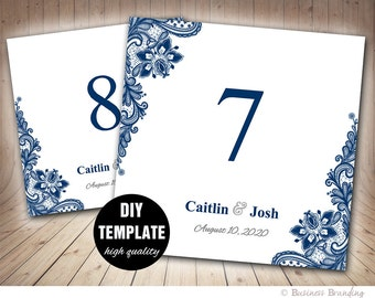 Navy Blue Wedding Table Card Template,Navy Table Number,5x5 Foldover,Printable Tablecard Template Instant Download,Blue Wedding,Navy Lace