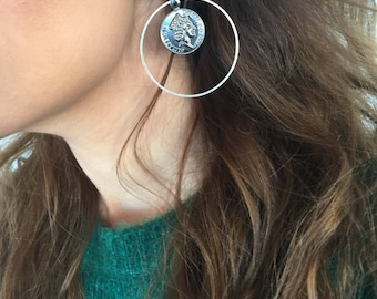 Disc Earrings, Disc Stud Earrings, Round Earrings, Circle Earrings, Clip On Earrings, Gift for Her, Made in Greece